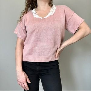Vintage Sweaters - 4/$25 Vintage drop shoulder knit top lace collar